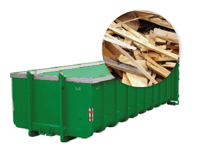 20m3 container huren - gemengd hout