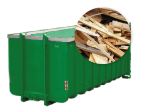 40m3 container huren - gemengd hout
